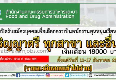 สำนักงานคณะกรรมการอาหารและยา เปิดรับสมัครบุคคลเพื่อเลือกสรรเป็นพนักงานทุนหมุนเวียน  ปริญญาตรี ทุกสาขา และอื่นๆ  ตั้งแต่วันที่ 11-17 ธันวาคม 2562 (รายละเอียดกดเข้าไปอ่าน)