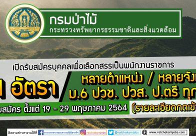 กรมป่าไม้ เปิดรับสมัครบุคคลเพื่อเลือกสรรเป็นพนักงานราชการ 51 อัตรา /หลายตำแหน่ง/หลายจังหวัด เปิดรับสมัคร ตั้งแต่ 19 – 29 พฤษภาคม 2564 (รายละเอียดกดเข้าไปอ่าน)