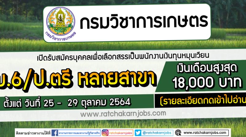 กรมวิชาการเกษตร เปิดรับสมัครบุคคลเพื่อเลือกสรรเป็นพนักงานเงินทุนหมุนเวียน ม.6/ป.ตรี หลายสาขา เงินเดือน 18000 บาท ตั้งแต่ วันที่ 25 – 29 ตุลาคม 2564 (รายละเอียดกดเข้าไปอ่าน)